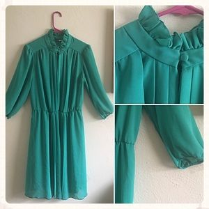 Sheet Turquoise Pleated Dress
